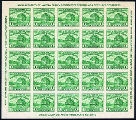 1933-1934 Imperforate Sheets  #730-31, 735, 750-51