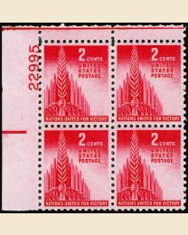 # 907 - 2¢ Allied Nations: plate block