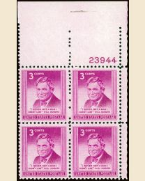 # 975 - 3¢ Will Rogers: plate block