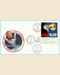 Challenger Space Shuttle cover includes the flight emblem, the $9.35 Express Mail stamp with official cancels marking the launch and landing of the flight