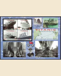 Titanic Full sheet with 4 stamps measures 6 x 8 1/2 inches